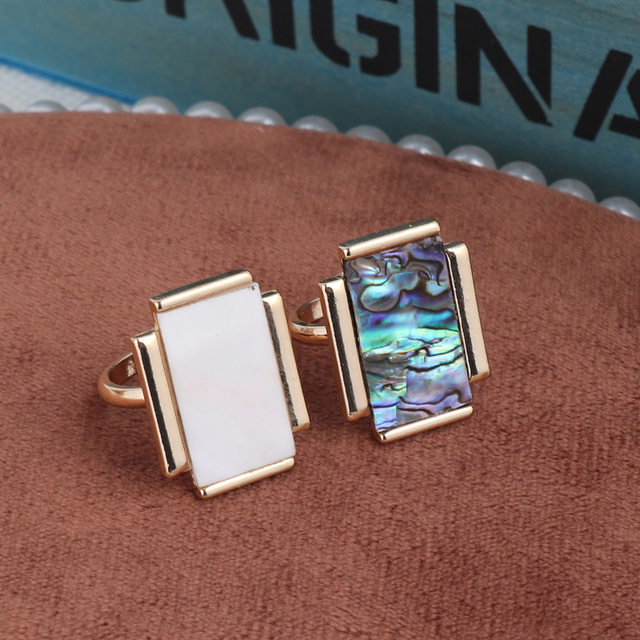 Rectangular White & Abalone Shell Rings Fashion Inner Dia 1.7cm Gold Color Brincos Pendientes Jewelry for Women