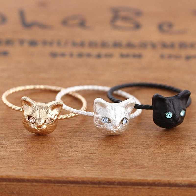 New Fashion Girls Black Silvery Golden Cute Animal Crystal Cat Rings For Women Gift 3 Colors