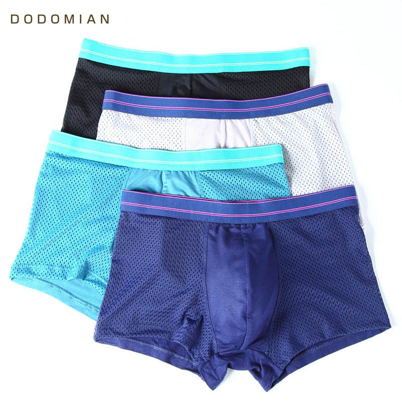 Men Boxers Underwear U Convex Sexy Breathable Casual 4pieces/Lot Solid Mesh Masculina