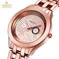 Chegam novas 18 K Rosa de Ouro Das Mulheres Relógios de Alta Qualidade do Metal de Liga de Quartzo-Relógio de Senhora Relógio De Pulso Da Marca de relógios de Luxo logotipo Kingsky