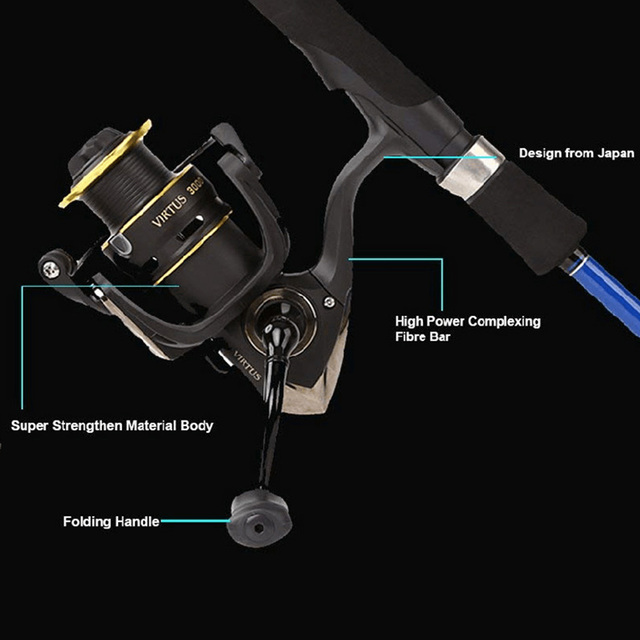 RYOBI Original fishing reel VIRTUS spinning reel 4+1 bearings 5.0:1/5.1:1 Ratio 2.5KG-7.5KG Power Japan reels with CNC handle 3