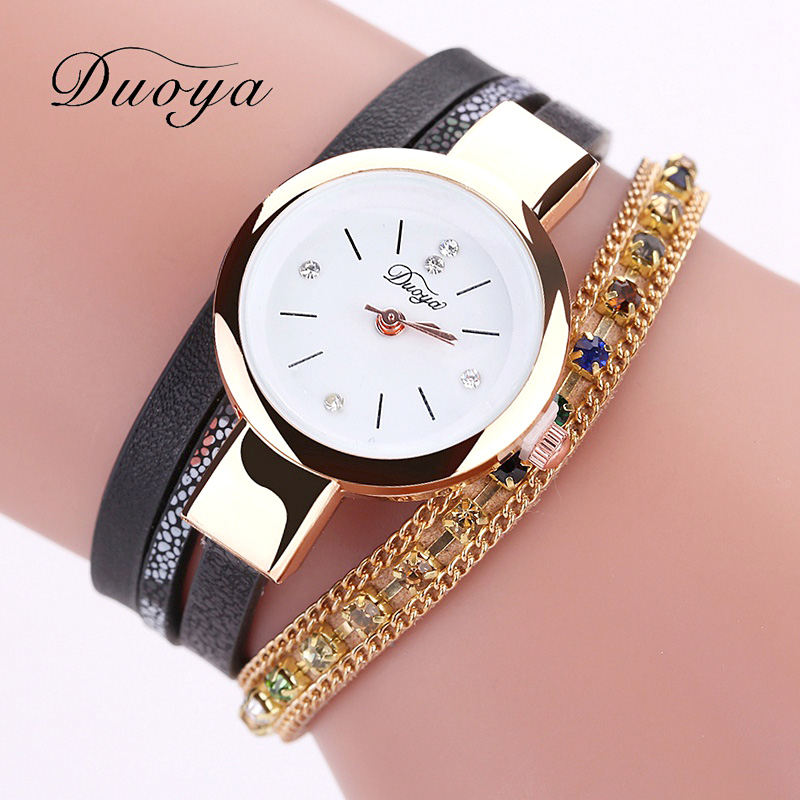 где купить 2017 Duoya Brand Fashion Crystal Watches Women Dress Chain Gold Bracelet Watches Ladies Luxury Sport Vintage Clock Casual Watch по лучшей цене