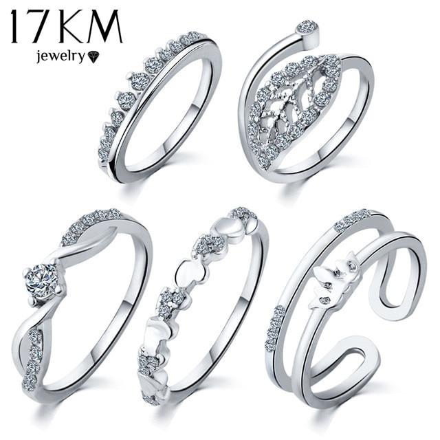 Buy 17km 5 Pcs Set Silver Color Heart