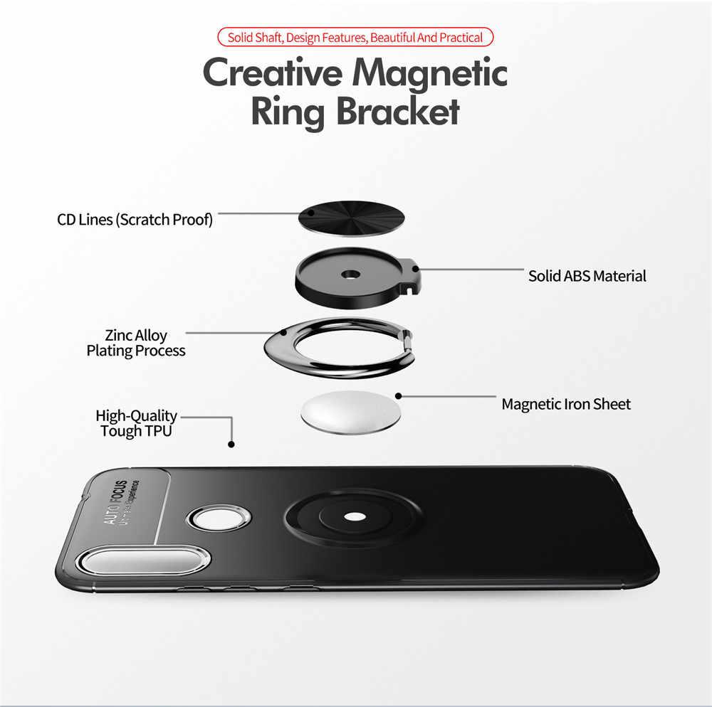 KEYSION טלפון מקרה לסמסונג גלקסי M10 M20 M30 A10 A30 A40 A50 A70 מתכת מגנטי טבעת מחזיק רך סיליקון TPU יוקרה כיסוי