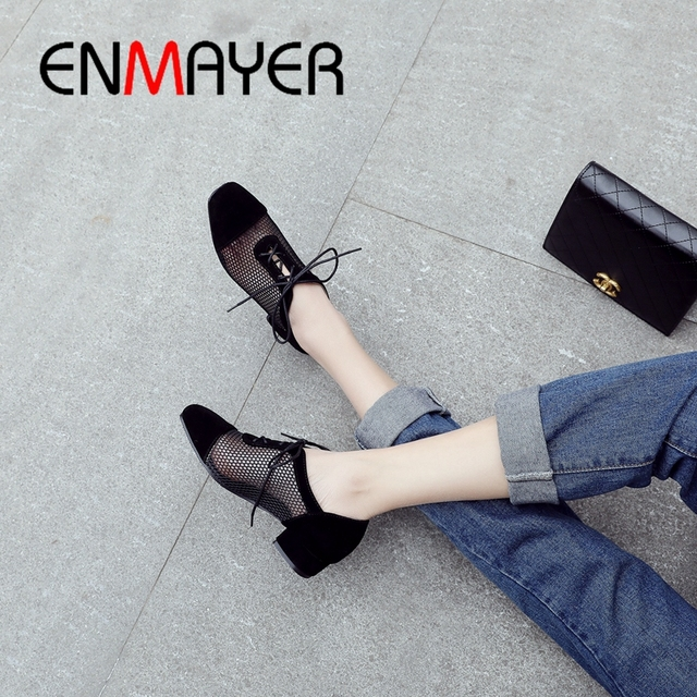 ENMAYER 2019 NEW Arrival Women Low Heel Pumps Lace-up  Square Heel  Square Toe  Casual Fashion Black Shoes Size 34-43 LY1860