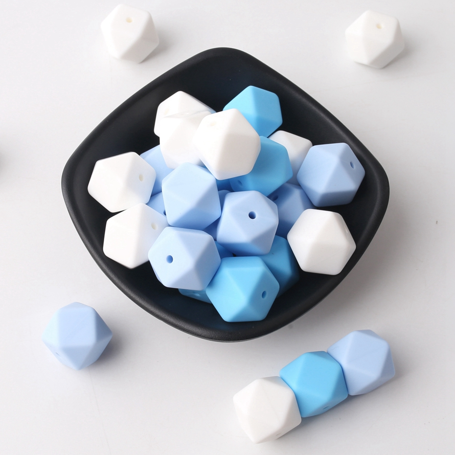 Bite Bites Blue Series 17mm Hex Silicone Beads 20PCS Diy Feeding Infant Necklace Pacifier Chain BPA Free Nurse Gift Baby Teether