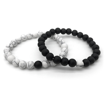 2Pcs/Set Bracelet Classic White and Black Yin Yang 2