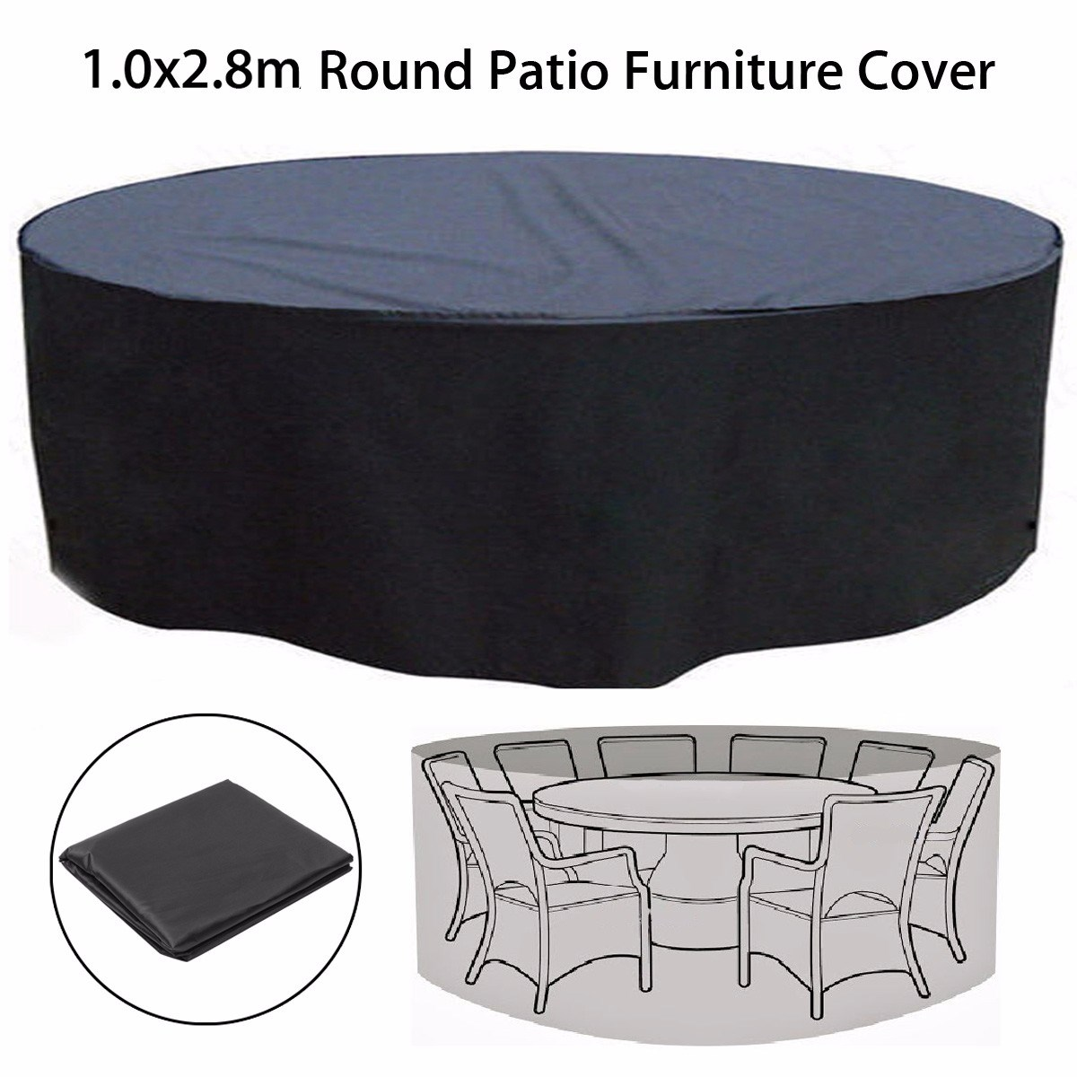 Woven Polyethylene Garden Round Table Chair Cover Patio Coffee Waterproof Ind