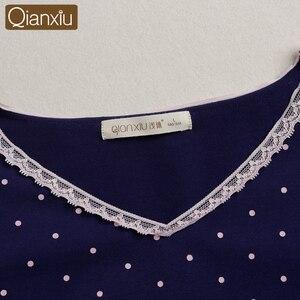 Image 5 - 2020 jesień Sleepshirt kobieta dorywczo proste polka dot nighty sukienki damskie bawełniana koszula nocna kobiety z długim rękawem bielizna nocna sukienka