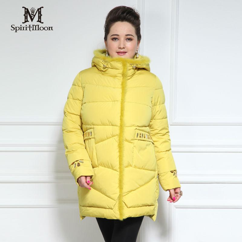SpiritMoon Marque Femmes blouses 2016 Nouvelle arrivée Épais Bio Peluches coton Vison col de fourrure Des Femmes vers le bas veste Plus La Taille d'hiver veste