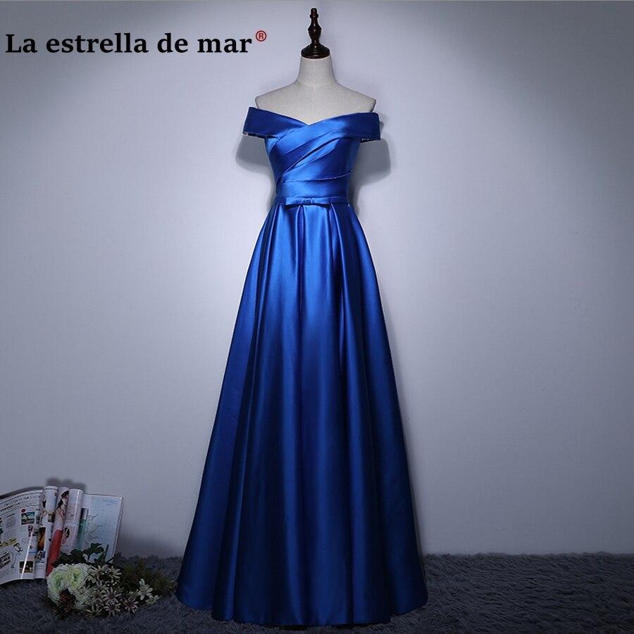 robe demoiselle d'honneur2018 new satin Boat Neck Cap Sleeve a Line royal blue wedding party dress long cheap vestido madrinha