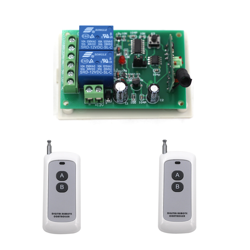 DC 12V 2 Way Receiver Wireless Remote Switch System RF Radio Control Switches Relay Receiver Transmitter Learning Code 315Mhz