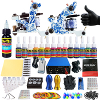 Solong Tattoo Complete Tattoo Kits 2 Machine Gun Beginner Tattoo Set 14 Inks Needle Grips Foot Petal Power Supply TK203 41