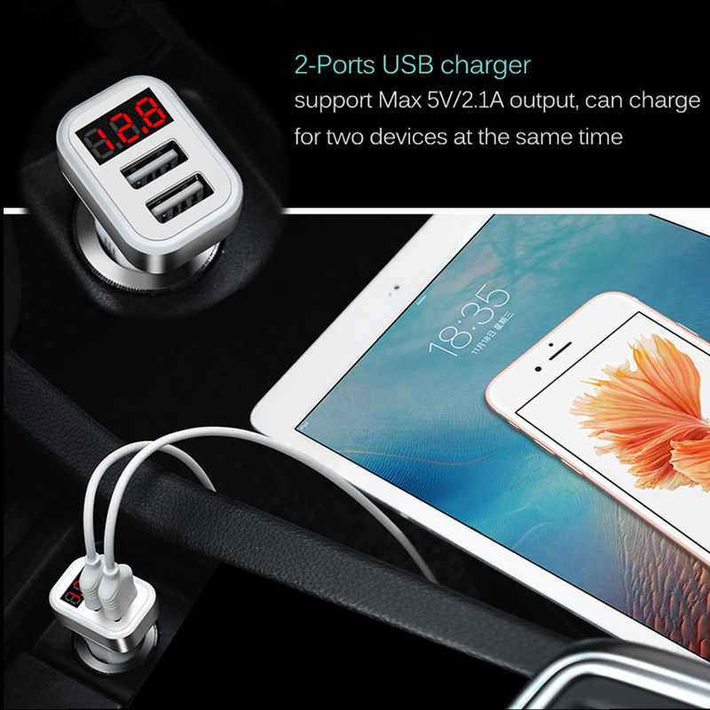 شاشة led شاحن سيارة شاشة ديجيتال ثنائي المنفذ 2 USB محول 2.1A سيارة شاحن مزدوج USB آيفون 5 6 7 8 X باد أبل كابل