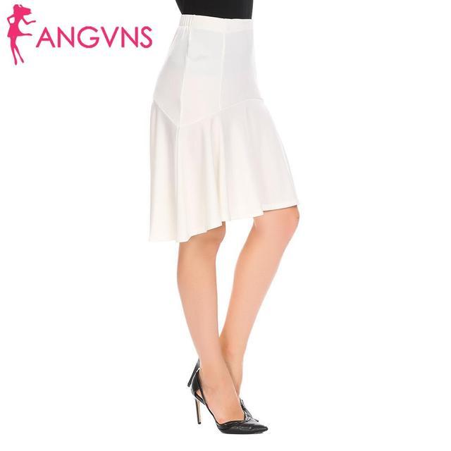 ANGVNS Women Pleated Skirt Ruffles Sexy Solid Irregular High Low Hem High Waist Short skirts Umbrella Skirt 8