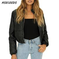 Vintage winter jacket women coat black padded parka long sleeve zipper faux leather clothes korean fashion fall 2018 streetwear