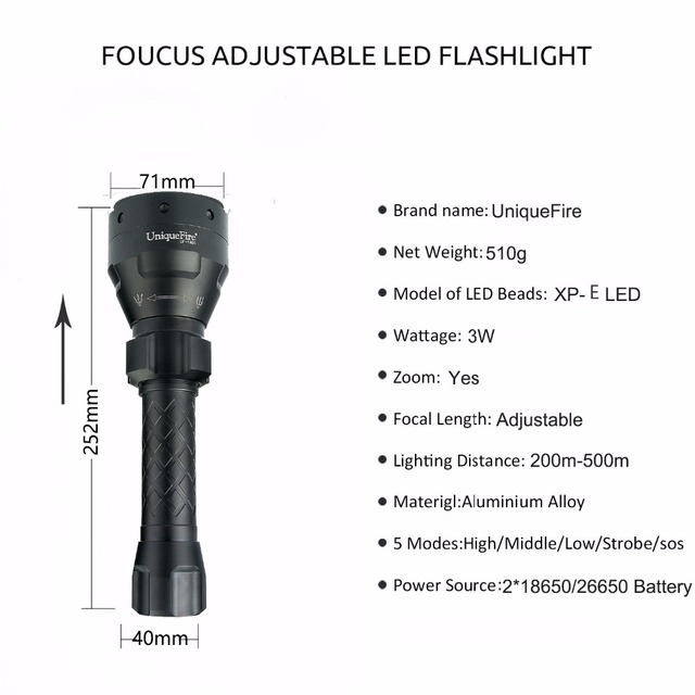 UniqueFire 250LM 1405 XPE 3 Modes LED Flashlight Rechargeable Torch Tactical Waterproof  For Outdoor Hiking and Caving