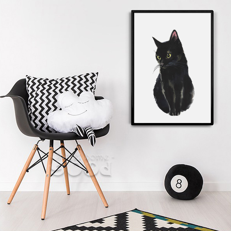 Watercolor black cat canvas art print painting poster for Cat decorations home