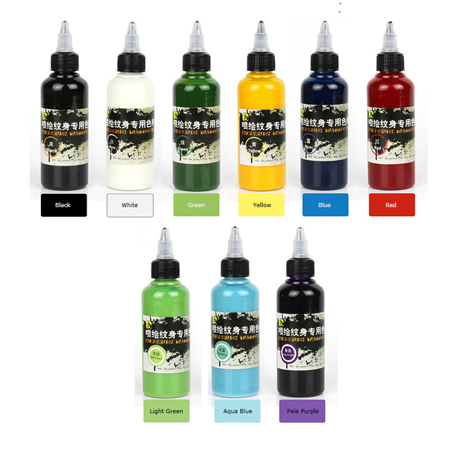Temporary Tattoo Ink: 100ml 9Colors Airbrush Temporary Tattoo Ink Natural Safe