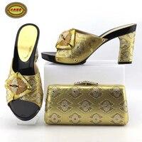 YH14 Ouro de Alta Qualidade de Casamento Da Noiva Sapatos E Bolsa Set Hot Sale Strass Sandálias Sapatos de Salto Alto Para O Casamento