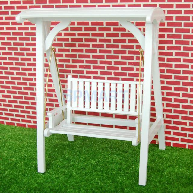 Charmant 1/12 Dollhouse Miniature Garden Furniture Wooden Swing Rocking Chair White