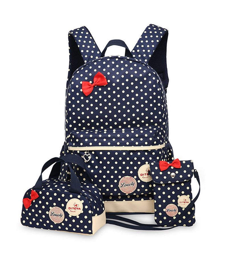 School Bags for Teenagers Girls Schoolbag Large Capacity Ladies Dot Printing School Backpack set Rucksack Bagpack Cute Book Bags womens fashion cute girls sequins backpack paillette leisure school bookbags leather backpack ladies school bags for teenagers