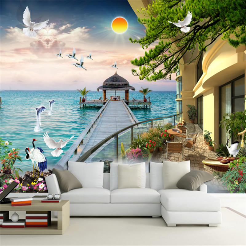 custom 3d photo high quality non-woven wallpaper wall murals 3d wallpaper landscape painting TV backgroung wall for living room 3d ceiling murals wallpaper custom photo non woven 3d wall murals wallpaper for living room blue sky flowers leaves painting