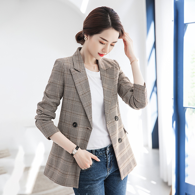 Blazer Women Casual Plaid Slim Double-breasted Suit Jacket Ladies Jacket 2019 Autumn New Women's Clothing