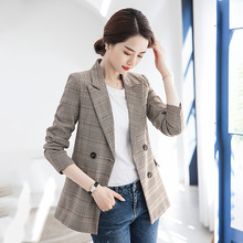 Blazer women casual plaid slim double-breasted suit jacket ladies 2019 autumn new womens clothing