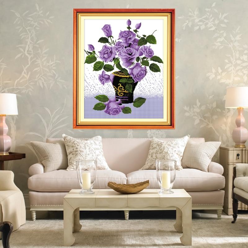 Романтическая история фиолетовая Роза, цветок ваза узор домашнее украшение вышивки крестом Вышивание нитками DMC наборы для вышивки крестом