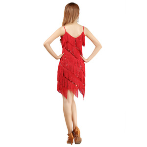 Image 5 - 2018 באיכות גבוהה סקסי ציצית ריקוד לטיני שמלת ריקוד לטיני שוליים תלבושות עבור נשים על מכירה