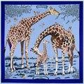 SALUTTO 130cm*130cm Silk Euro Brand Style Fashion Paris Animal Giraffe Print Silk Square Scarf Femal Fashion Les Girafes Shawls