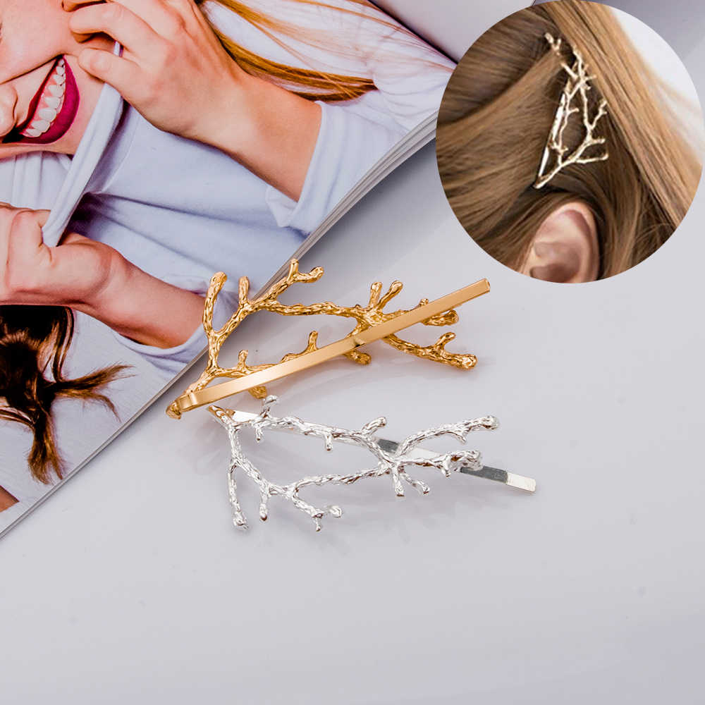 Tree Shape Design Hair Clips Girls Alloy Branch Hairpins Fashion Hairgrips Lady Elegance Metal Hair Accessories For Women