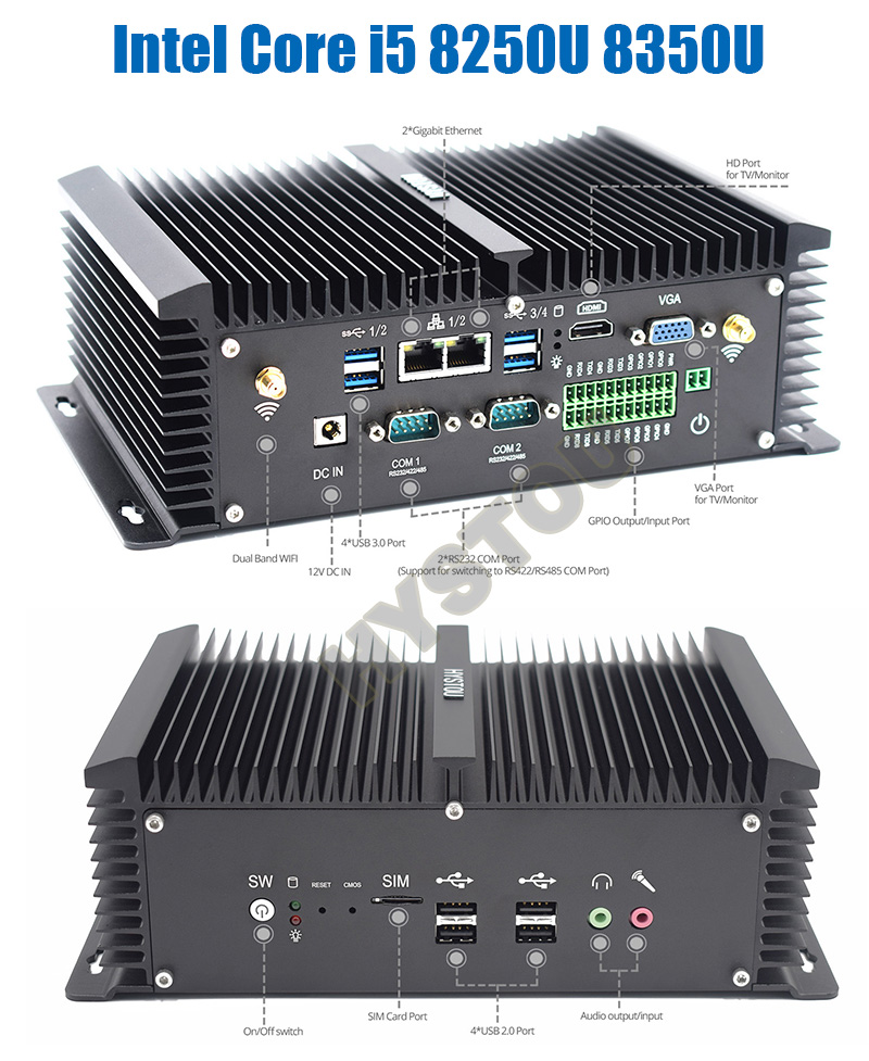 ❤️ 3 yıl Garanti HYSTOU Çekirdek i5 4200U 8250U 8350U Fansız Mini PC linux  Masaüstü