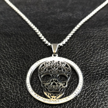 2019 Skull Crystal Stainless Steel Necklace Women Halloween Silver Color Necklaces Pendants Jewelry calavera mexicana N18527 1
