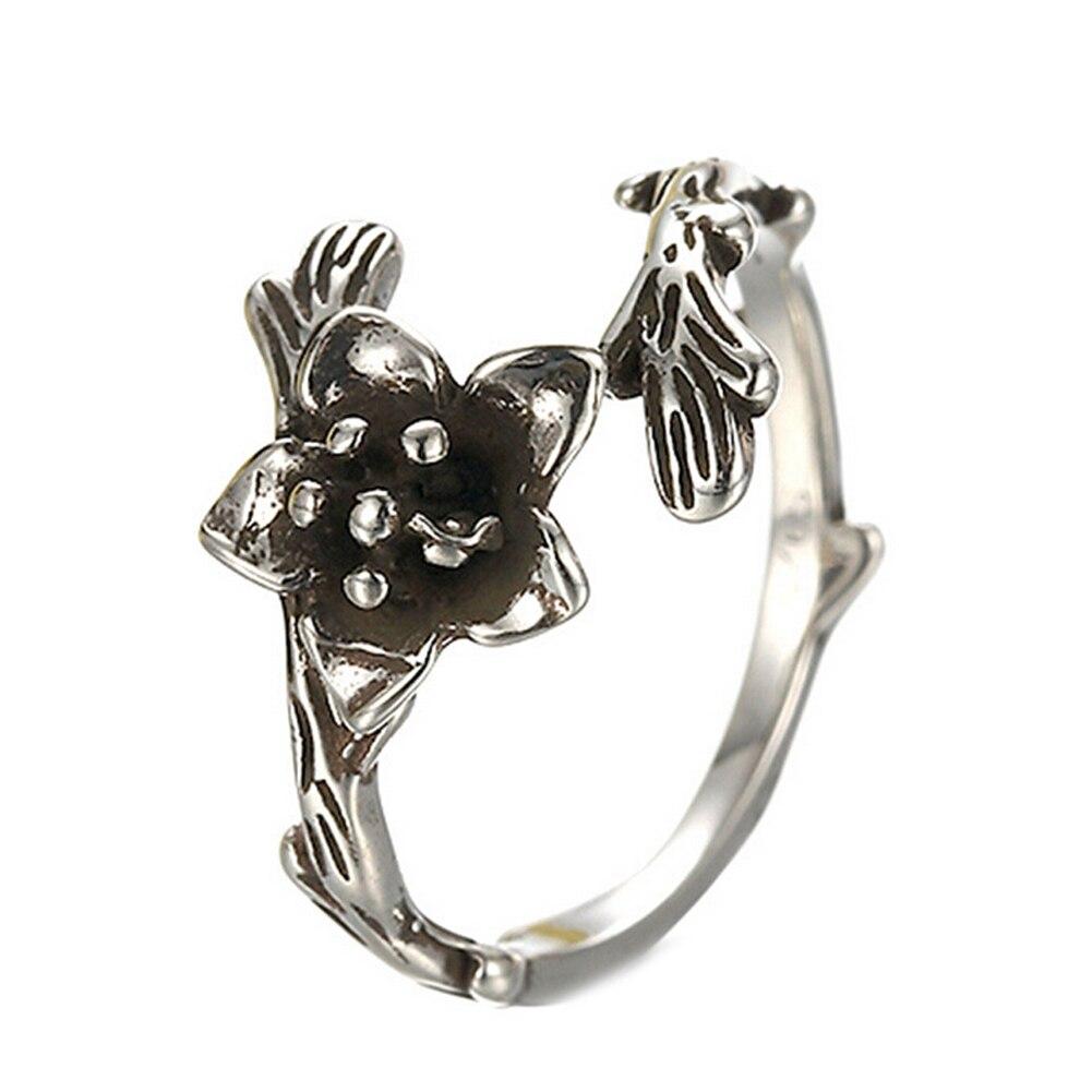 Jari Tengah Retro Baru Multicolor Batu Bulan Kupu Cincin Lonceng Keciel 2016 Kedatangan S925 Sterling Silver Antiqaue Perak Romantic Rose Flower Berbentuk Diukir Perhiasan