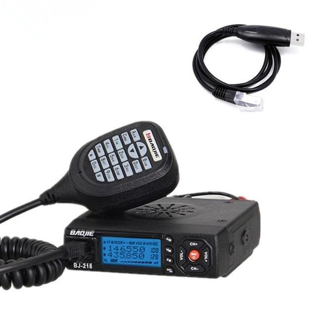 Baojie BJ 218 Mini Auto Walkie Talkie 10 km 25 w Dual Band VHF/UHF 136 174 mhz 400  470 mhz 128CH Ham Mobiele Radio Station + USB Kabel