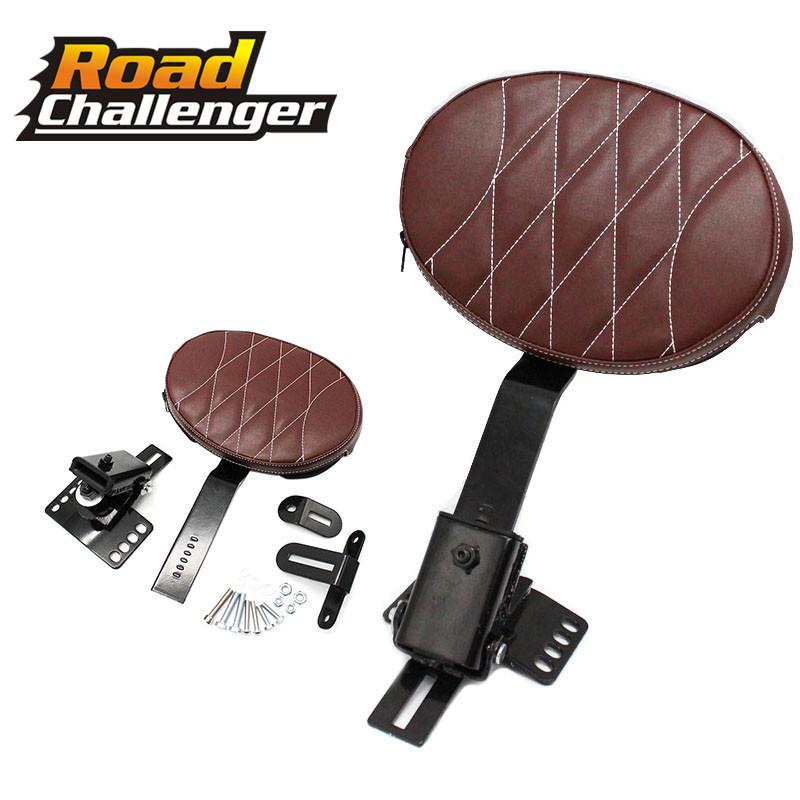 Motorcycle Brown Adjustable New Plug In Driver Rider Seat Backrest Pad Kit For Harley Touring Road Glide 2014-2018