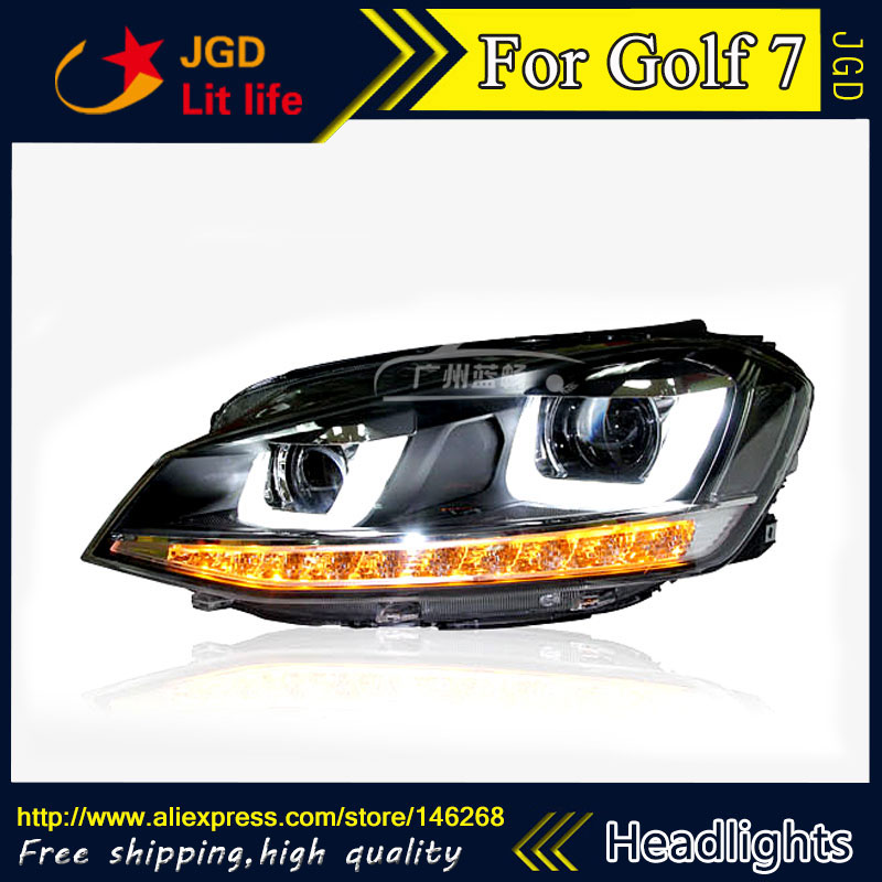 Free shipping ! Car styling LED HID Rio LED headlights Head Lamp case for VW Golf 7 Bi-Xenon Lens low beam