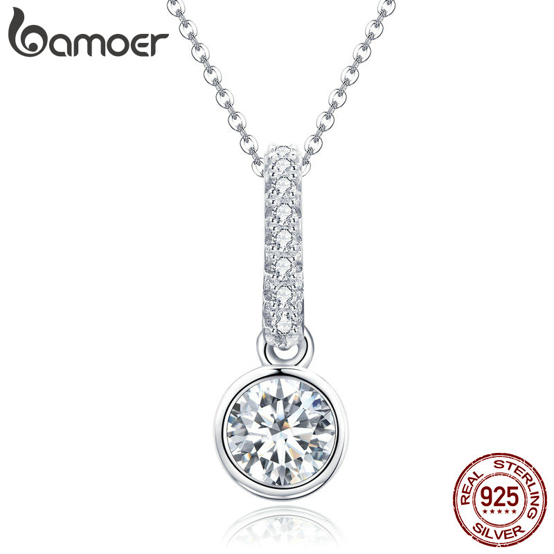 BAMOER Elegant 925 Sterling Silver Simple Geometric Round Dazzling CZ Pendant Necklaces For Women Sterling Silver Jewelry SCN295