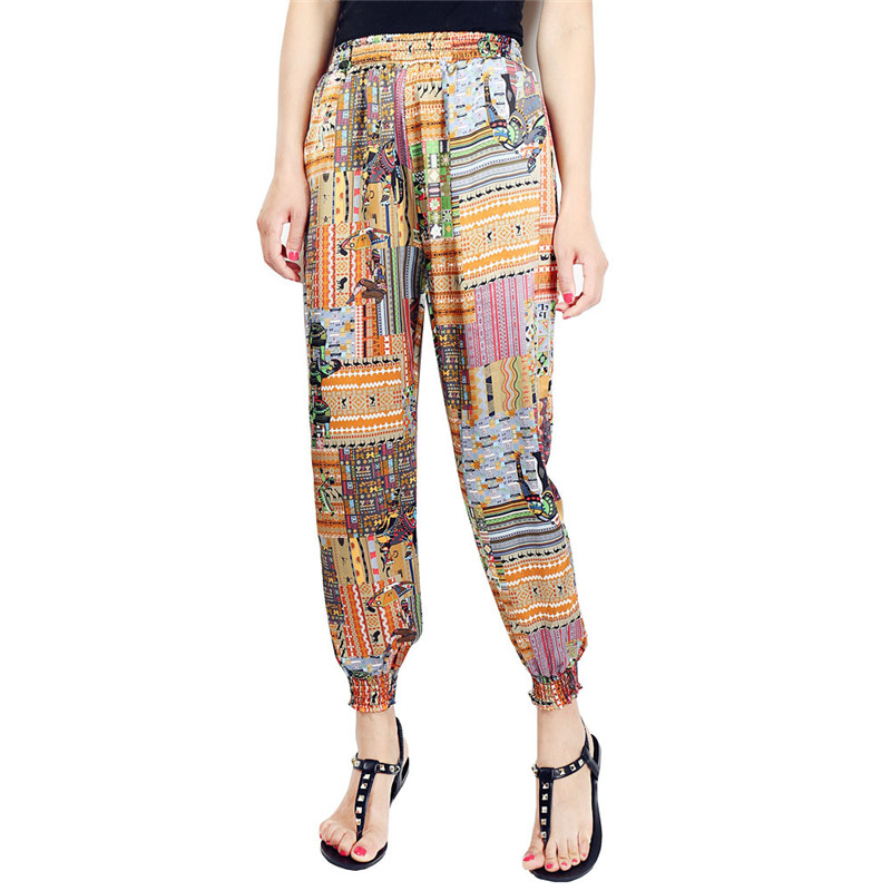 Loose Harem Pant High Waist Show Thin Printed Women's Wear Casual Ankle-Length Trousers Pockets 20
