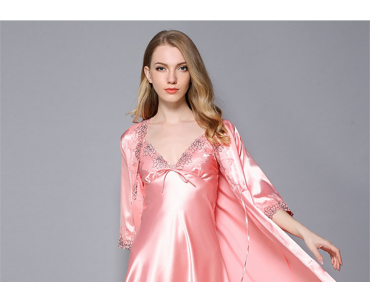 58ea93a6f9 Sexy Satin Nightgown Set Women 2 Pcs Robe Sets Silk Lace Lingerie Sleepwear  Female Suspender Skirt Nightwear Lounge Night Dress