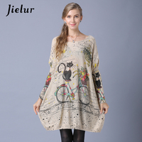 Jielur Winter New Slash Neck Women Sweaters And Pullovers Cute Cartoon Cat Printed Lady S Sweater