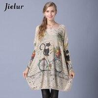 Jielur Winter New Slash Neck Women Sweaters And Pullovers Cute Cartoon Cat Printed Lady S Sweater