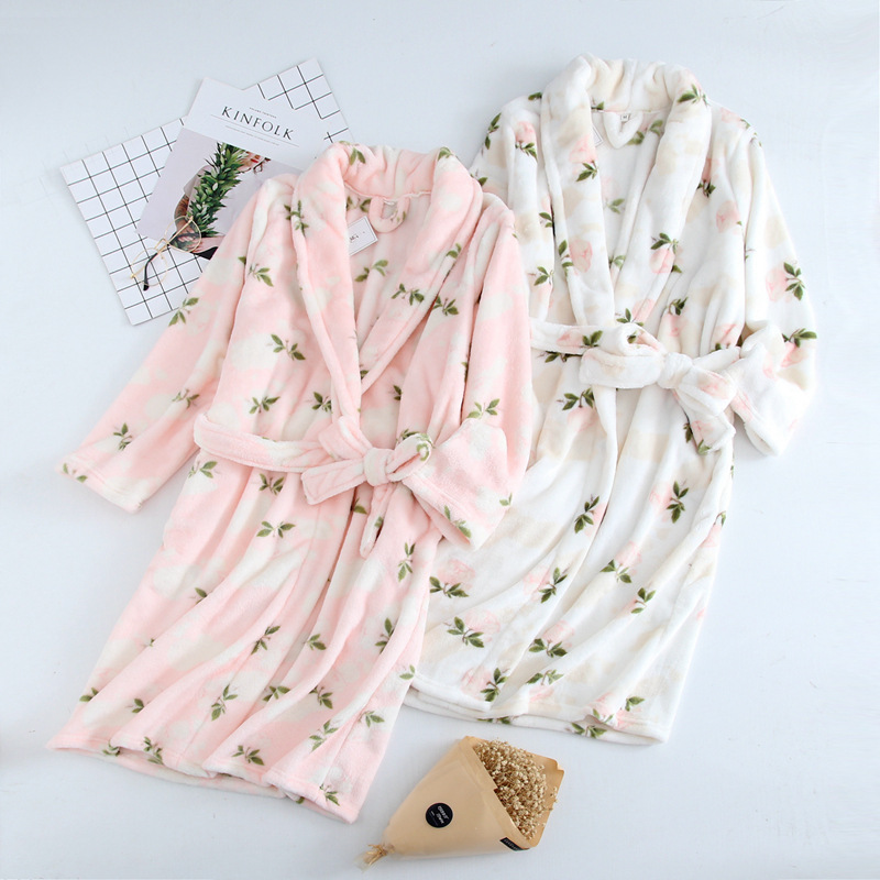 Fdfklak 2018 New Winter Bathrobe Women Dressing Gown Thicken Warm Flannel Print Long Robe Lingerie Femme Bride Sleepwear Q1367