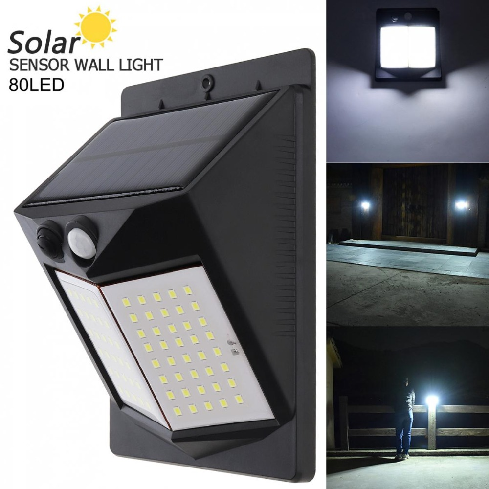 80 LED 500LM Light-controlled Human Body Sensing Wall Light Solar Motion Sensor for Outdoor / Courtyard Illuminating