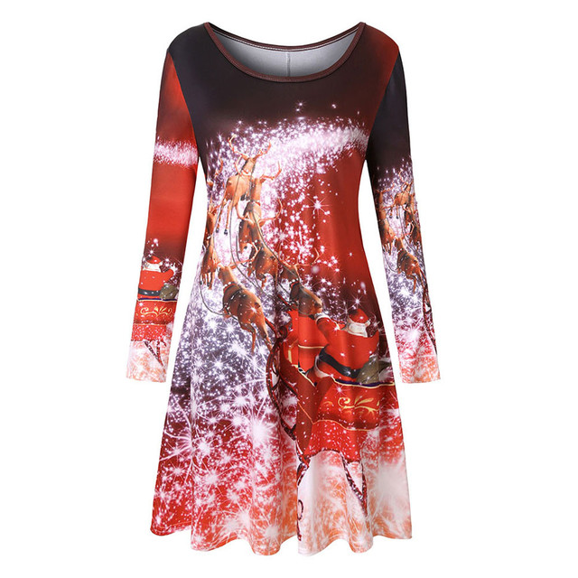 abe4f2d96cd0 Winter christmas dress Women Long Sleeve Vintage Xmas Christmas Printing  Round Neck Party mini Dress large size Robe Femme