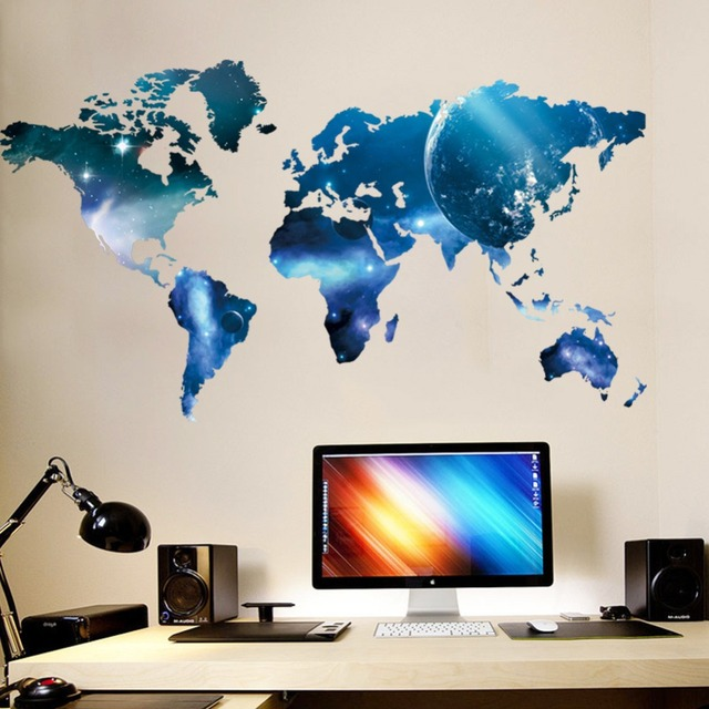 Creative Geek Style World Map Wall Stickers Art Mural Removable Vinyl Quote  Home Office Decor Wall