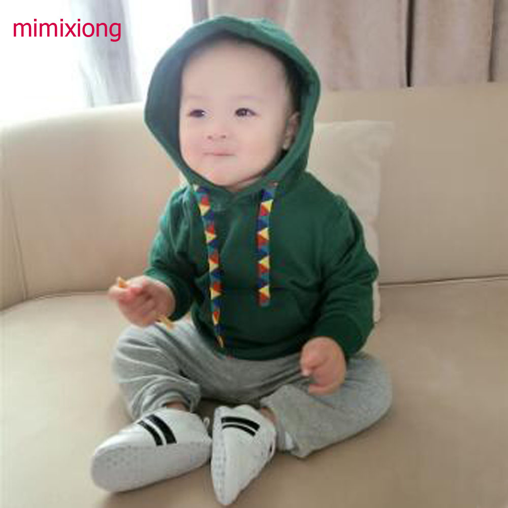Spring and Autumn 2018 baby children male Boy pure color long sleeve hooded sweater long sleeve kids clothes 0-2 years