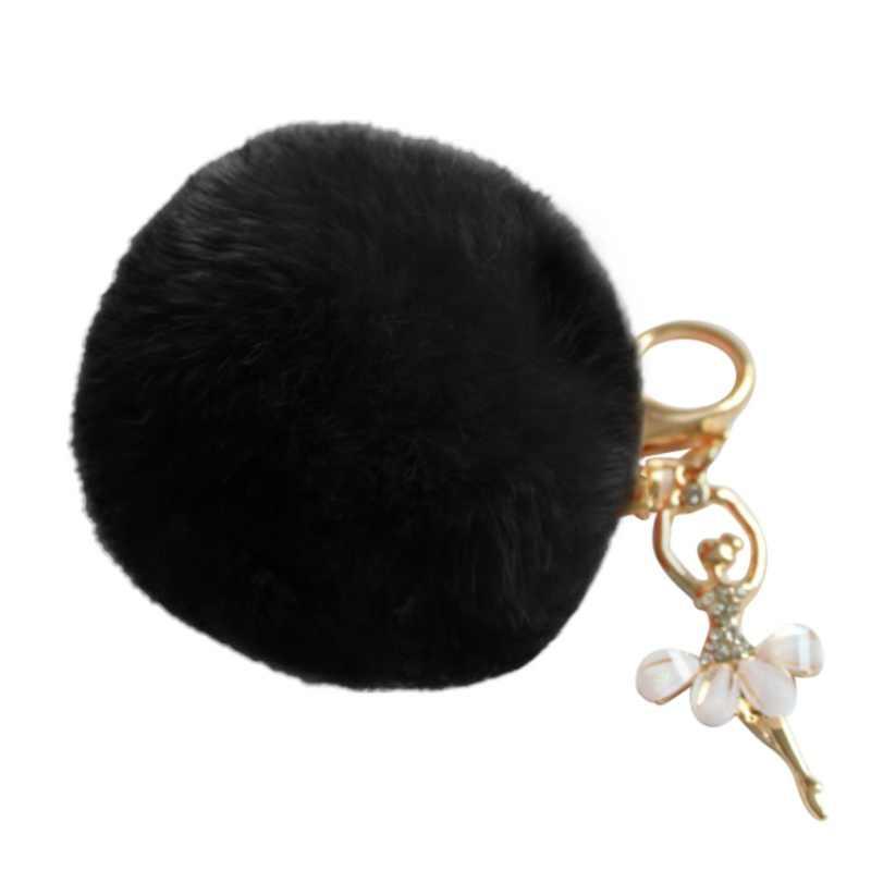 Chaveiro chaveiro pompom pom pom pom chaveiro bola de pele de coelho falso pompom anjo menina fourrure pompon bolsa feminina